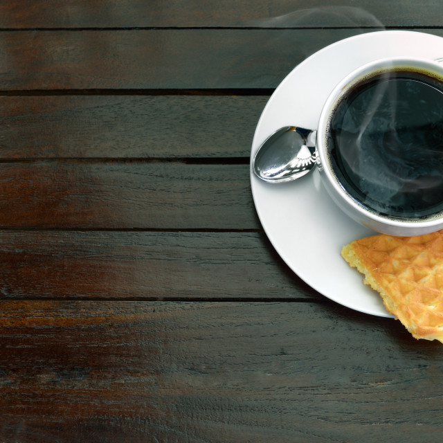 """Coffee with waffle"" stock image"