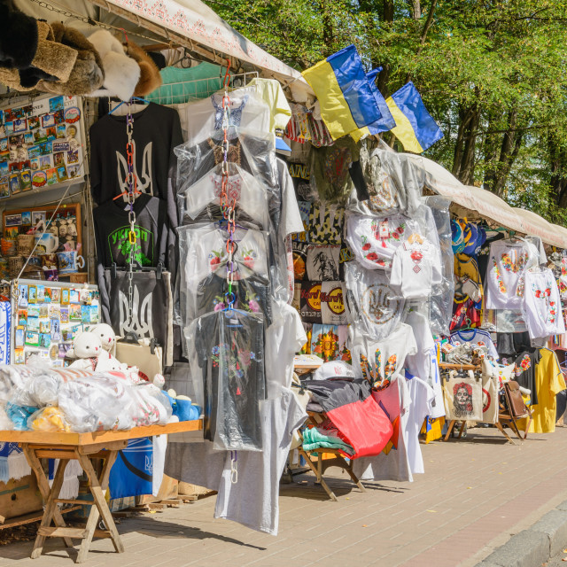 """Souvenir shops in Andriyivskyy Descent"" stock image"