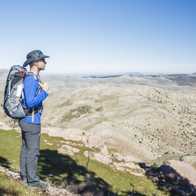 """""""Man enjoying the mountains"""" stock image"""