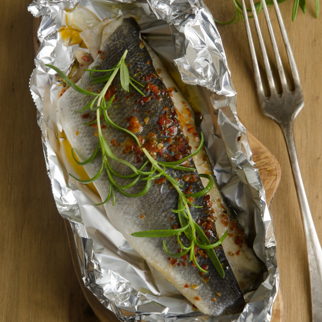 """Baked sea bass"" stock image"