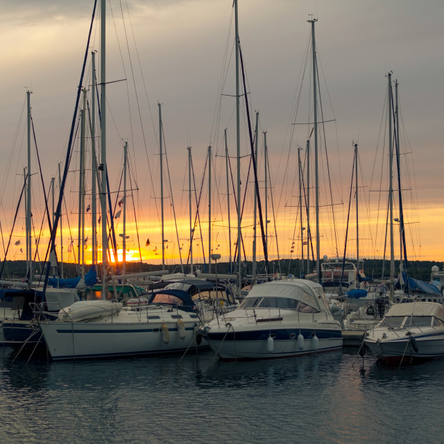 """Sunset with Sailboats Horizontal"" stock image"