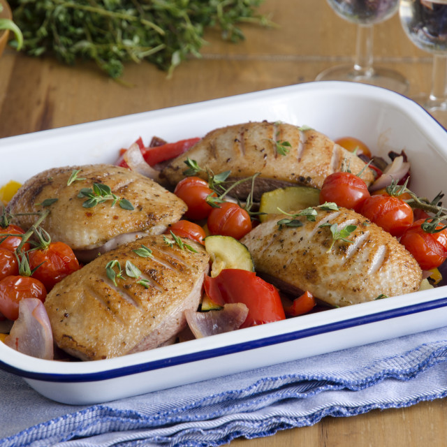"""""""Duck breasts with vegetables"""" stock image"""