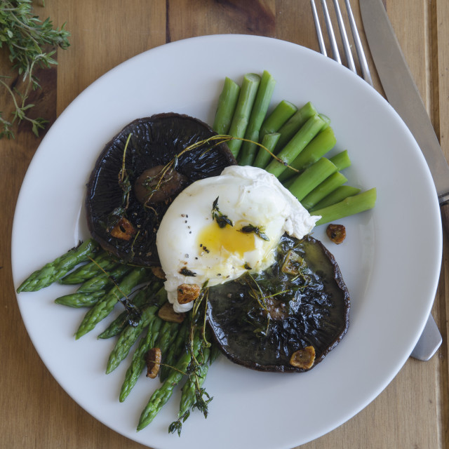 """""""Asparagus, mushrooms and poached egg"""" stock image"""