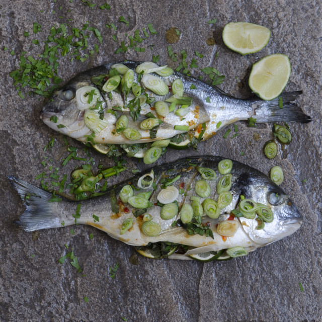 """Lime and ginger sea bream"" stock image"