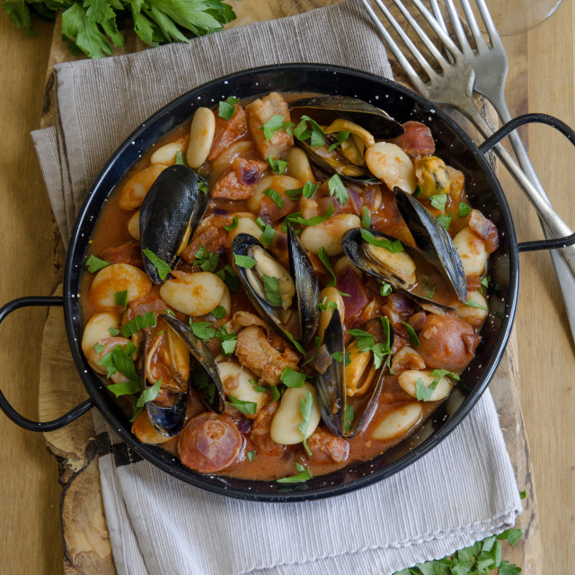 """""""Mussel and bean stew"""" stock image"""