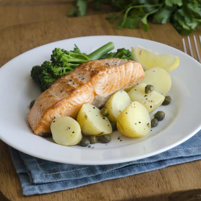"""Baked salmon"" stock image"