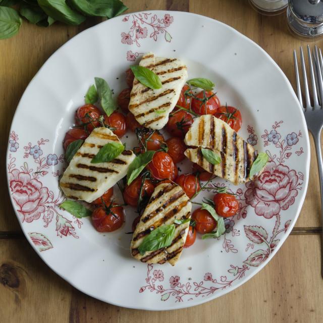 """Halloumi salad"" stock image"