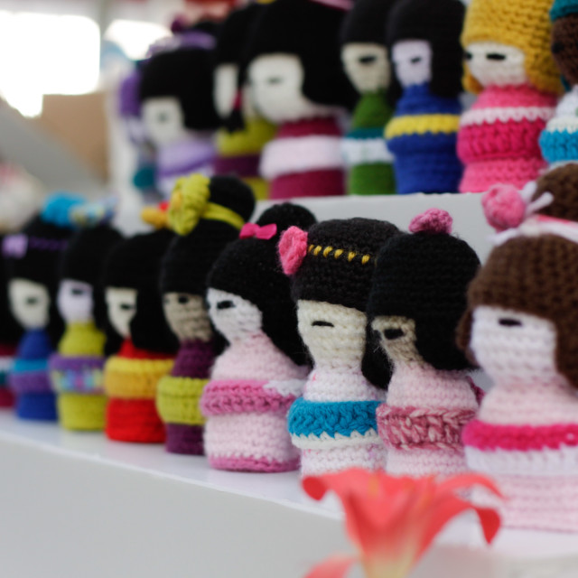 """woolen dolls at japanese festival"" stock image"
