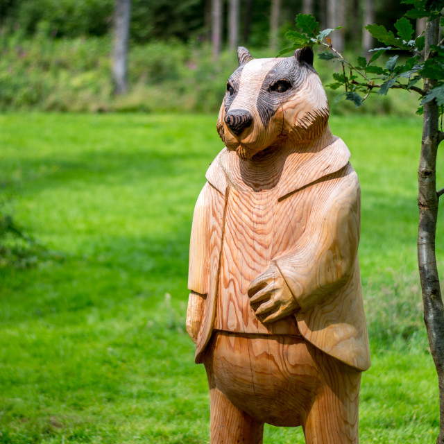"""Wood carved Badger"" stock image"