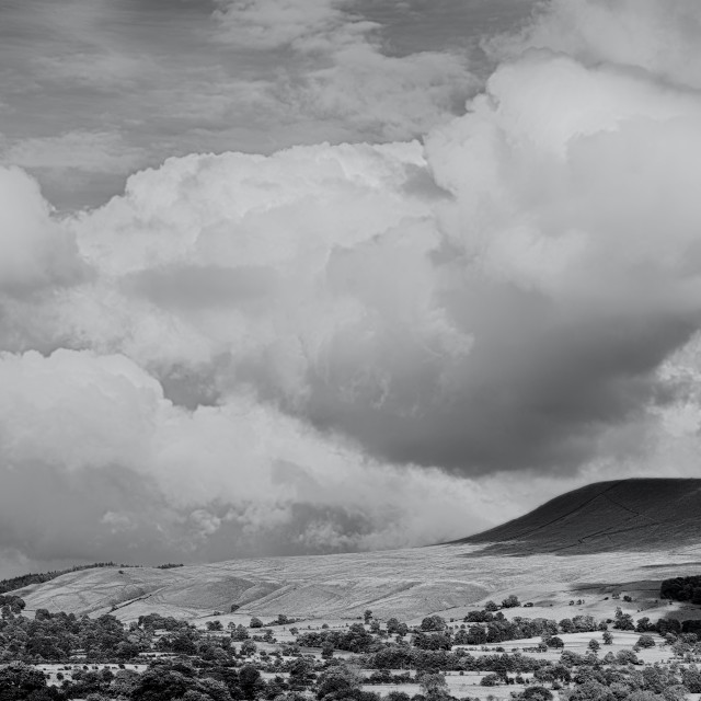 """Pendle Hill, Clitheroe Black and Wite"" stock image"