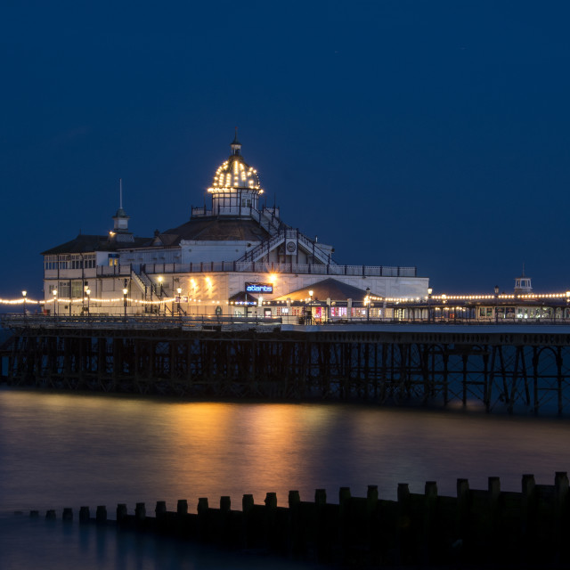 """Eastbourne Pier at dusk"" stock image"
