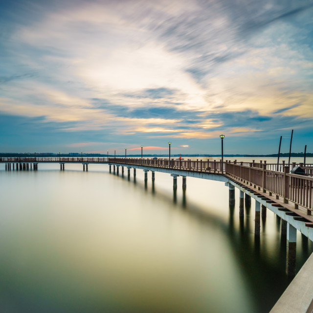 """Tranquility Sunset at Changi Broadwalk"" stock image"