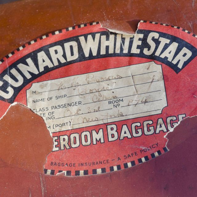 """Cunard White Star Luggage Sticker"" stock image"