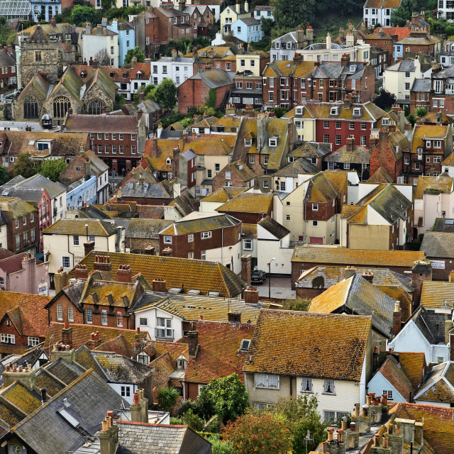 """View of Rooftops, Residential Housing, Hastings"" stock image"