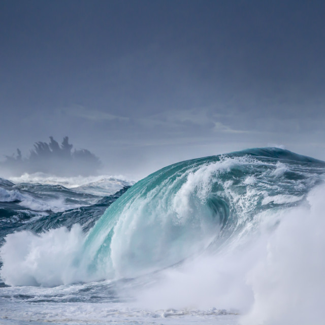 """Giant wave on the north shore"" stock image"