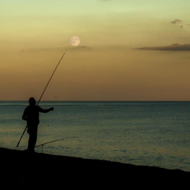 """""""Moonlit Fishing"""" stock image"""