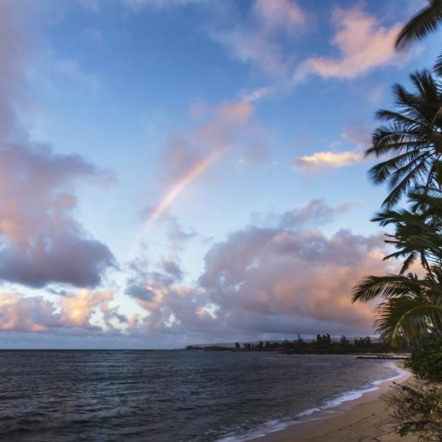 """Rainbow over the ocean"" stock image"