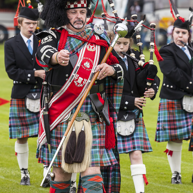 """Highland pipe band"" stock image"