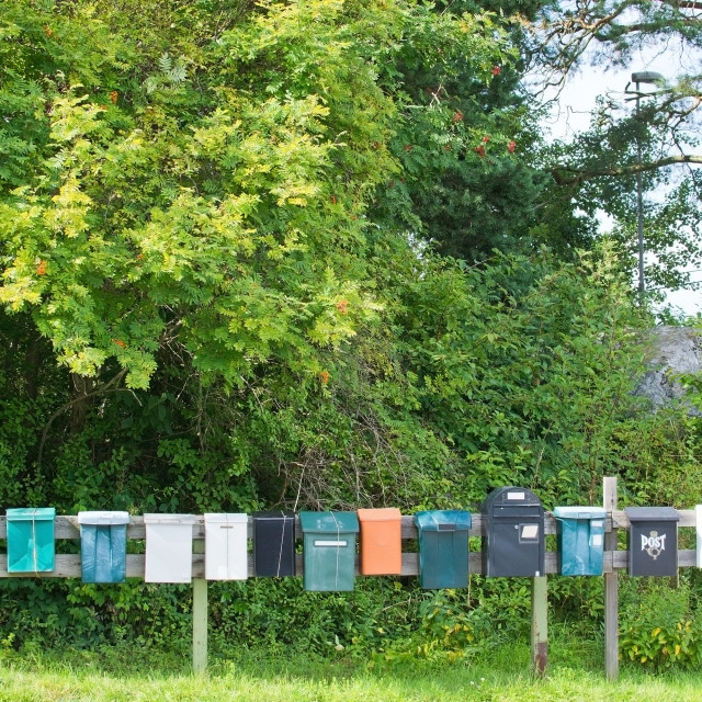 """Mailboxes in a row"" stock image"