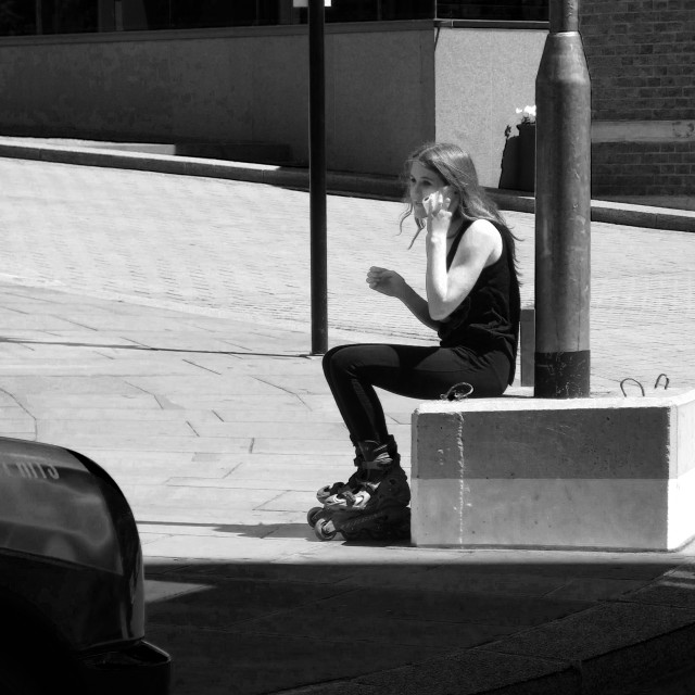"""""""girl in a rollerblade"""" stock image"""