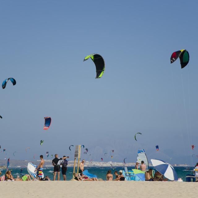"""Kitesurfers and windsurfers"" stock image"