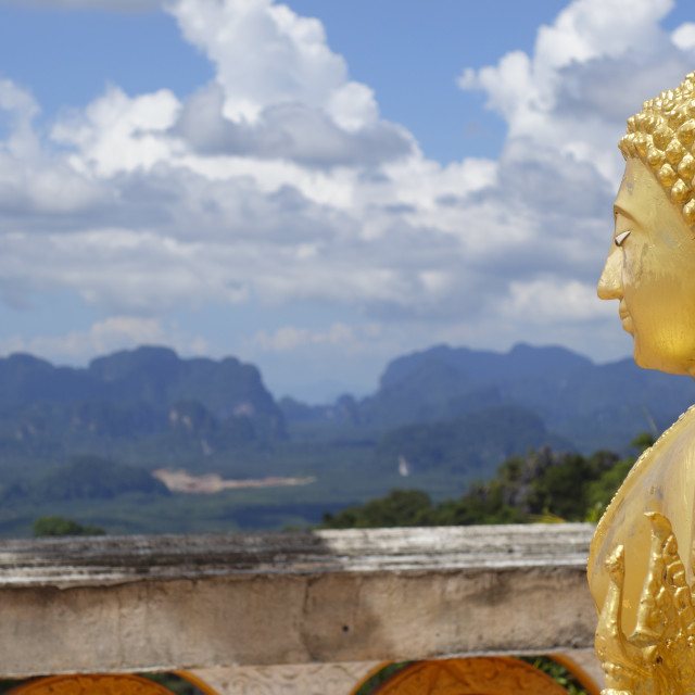 """""""Golden Buddha Statue on the top of the mountain,"""" stock image"""