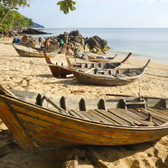 """Thai Long-tail boats"" stock image"
