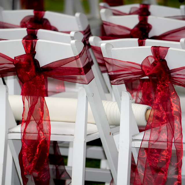 """White wedding chairs"" stock image"