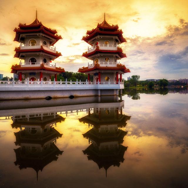 """""""Double Pagoda Sunset"""" stock image"""