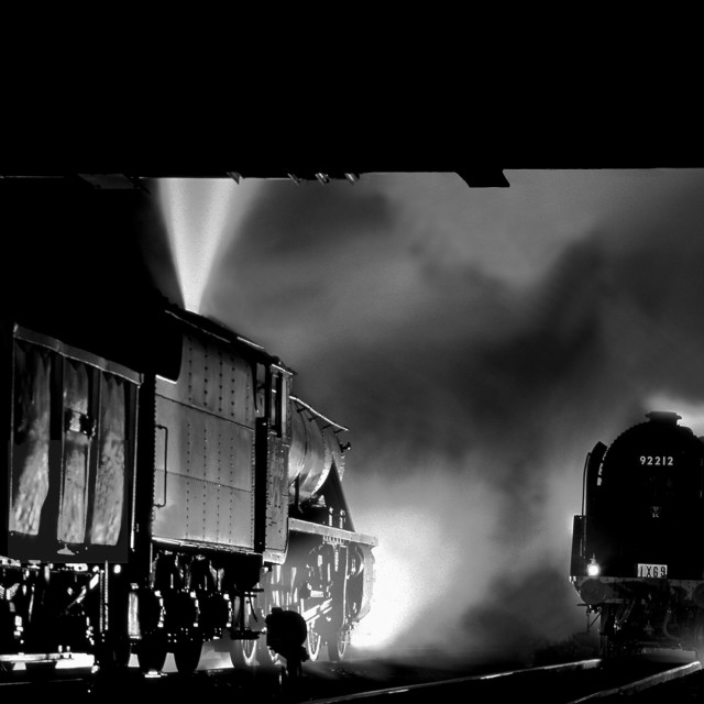 """""""Steam trains passing at night"""" stock image"""