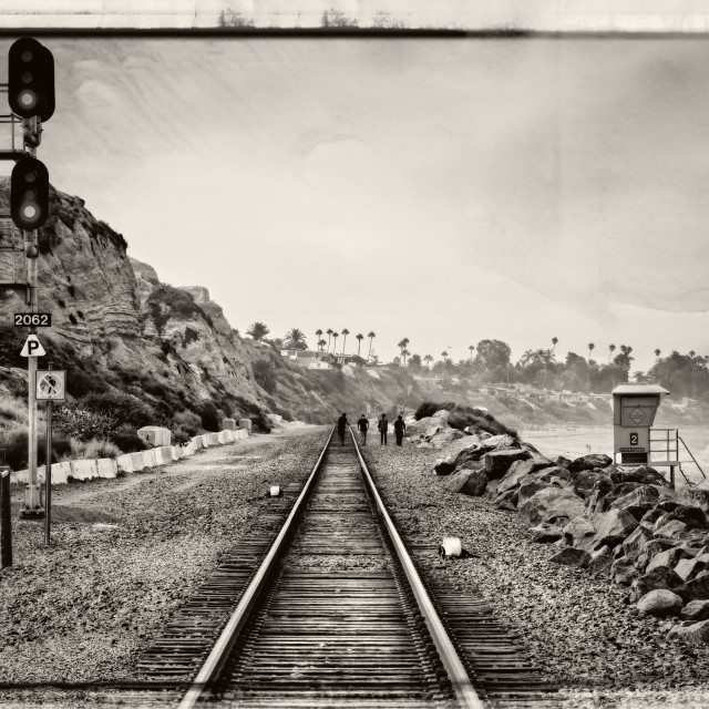 """Railroad Tracks (BW)"" stock image"