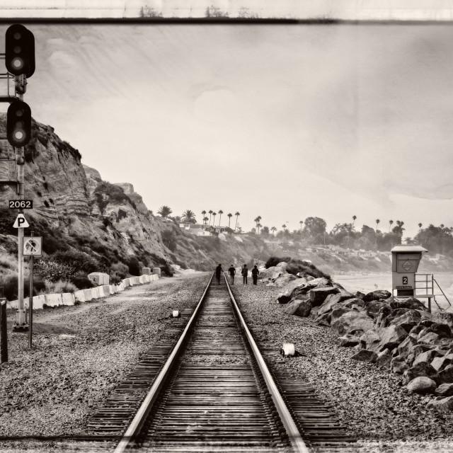 """Railroad Tracks (BW)"" stock image"