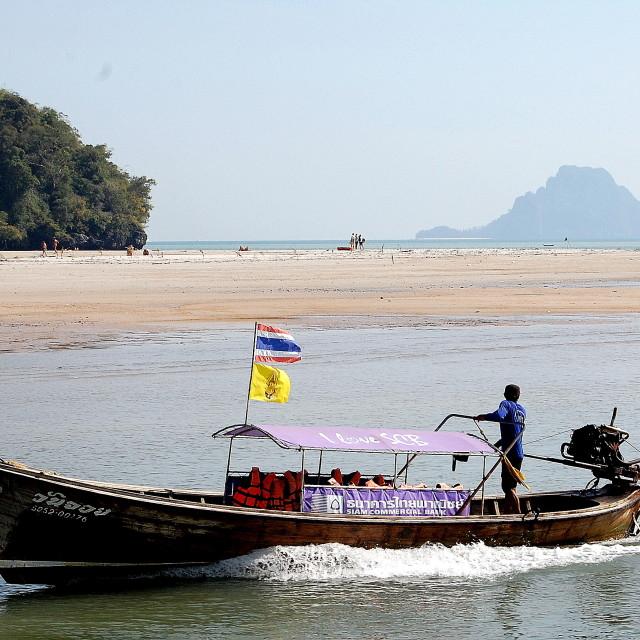 """""""Long tail boat taxi near Ao Nang, Southern Thailand"""" stock image"""