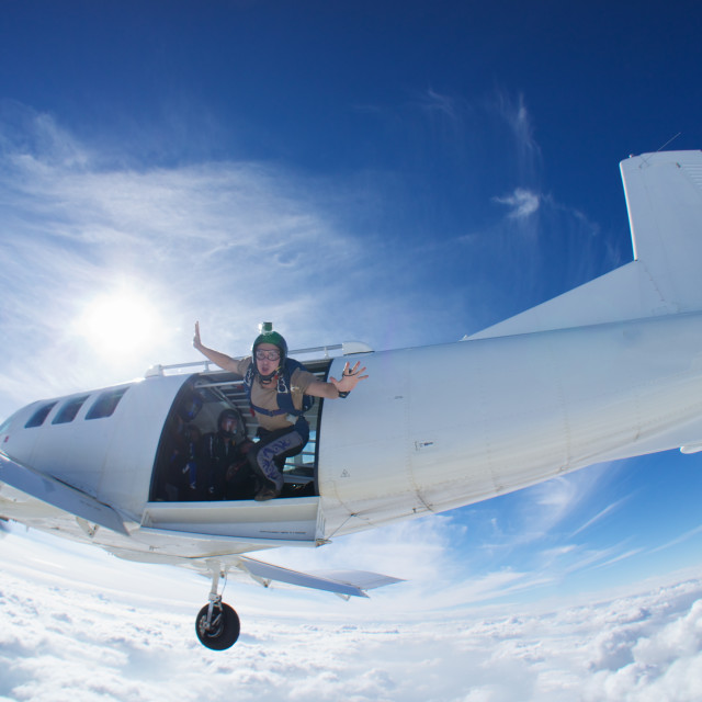 """Skydiver exiting aircraft"" stock image"