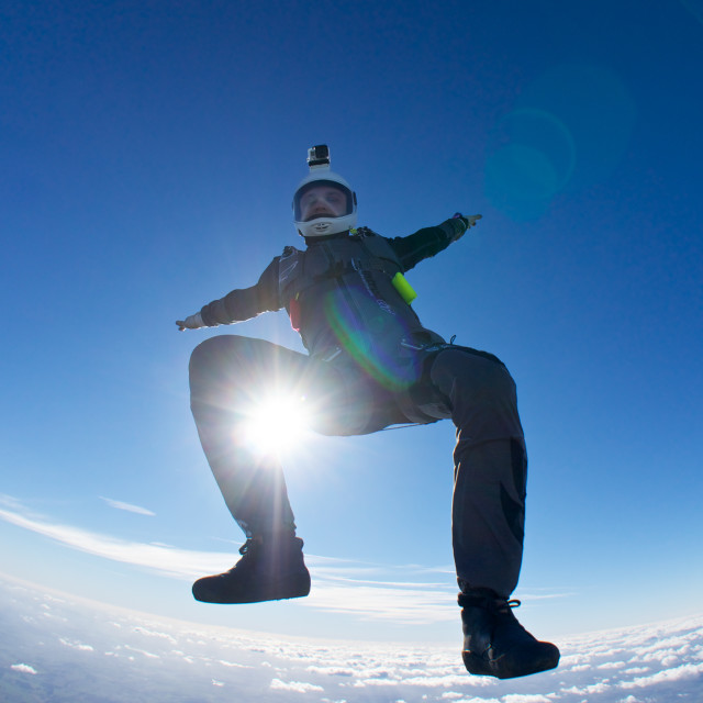 """""""Skydiver freeflying in the UK"""" stock image"""