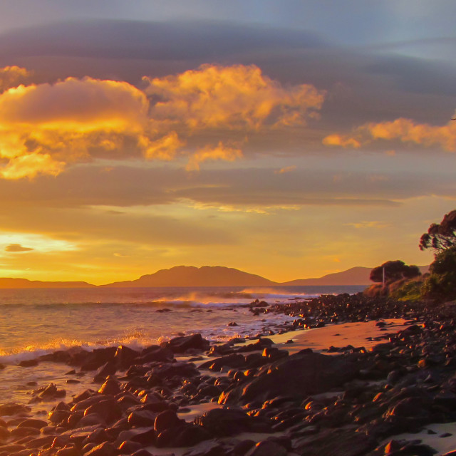 """Tasmanian Sunset"" stock image"