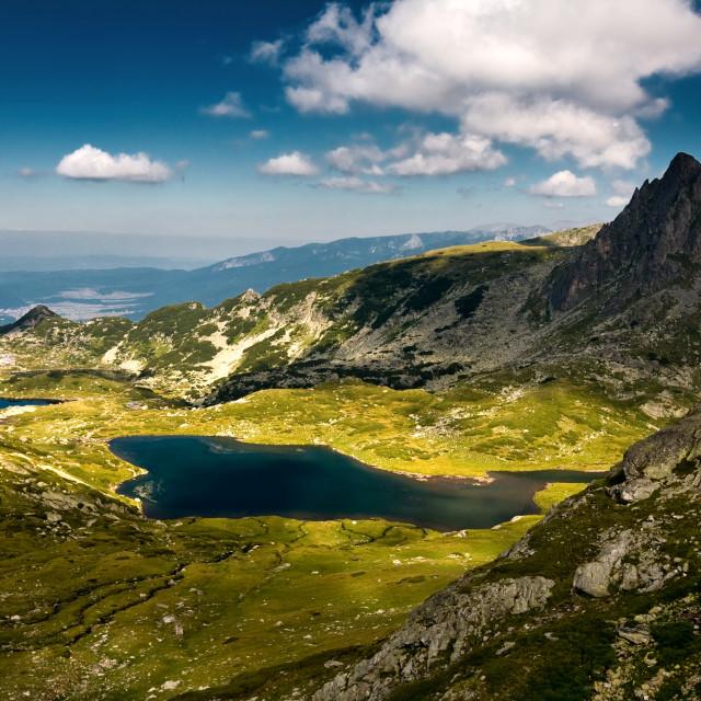"""""""Lake Bliznaka, peak Haramiata"""" stock image"""