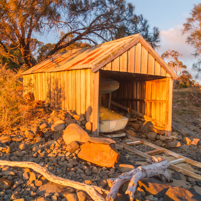 """Boatshed at Sunset 1"" stock image"