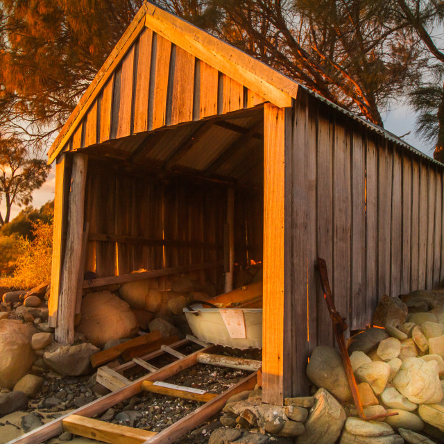 """Boatshed at Sunset 2"" stock image"