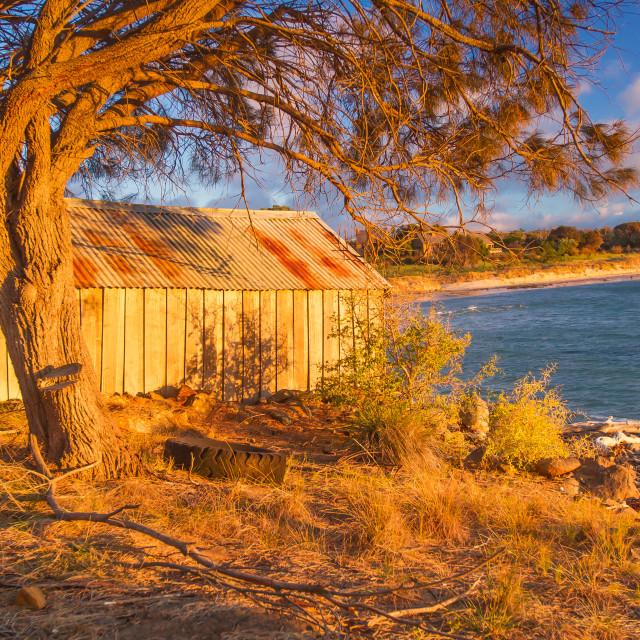 """""""Boatshed at Sunset 5"""" stock image"""