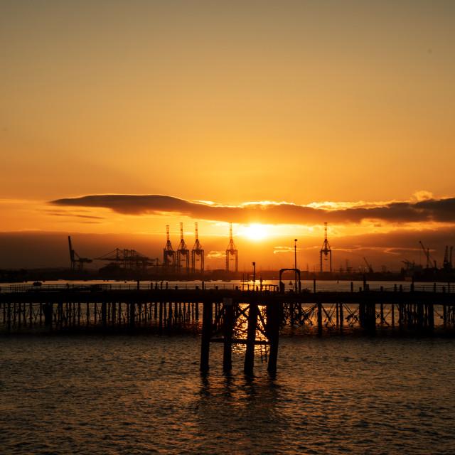 """Sunset at Southampton Docks"" stock image"