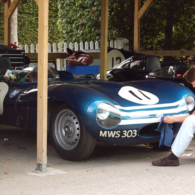 """""""Finishing touches on a Jaguar D-Type"""" stock image"""