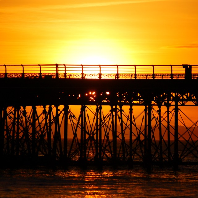 """Pier Sunset"" stock image"