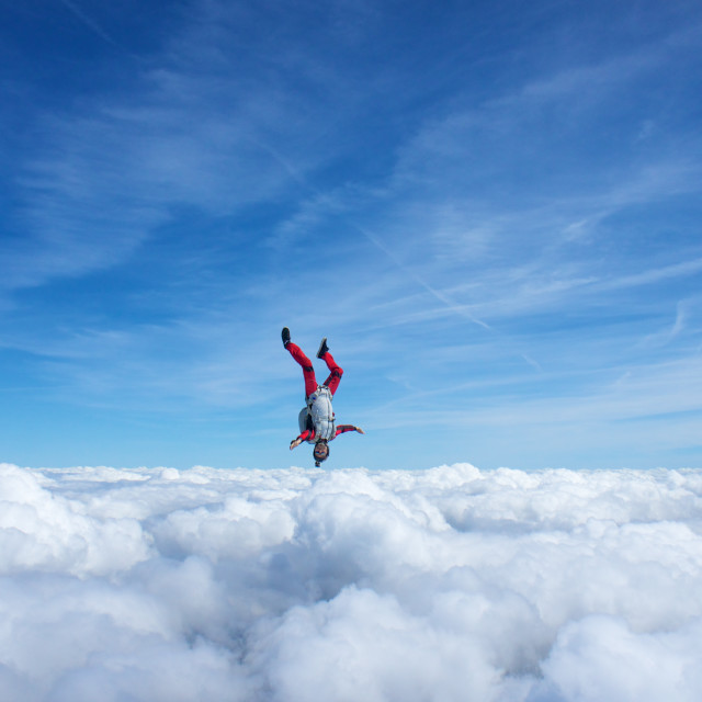 """Skydiver head down"" stock image"
