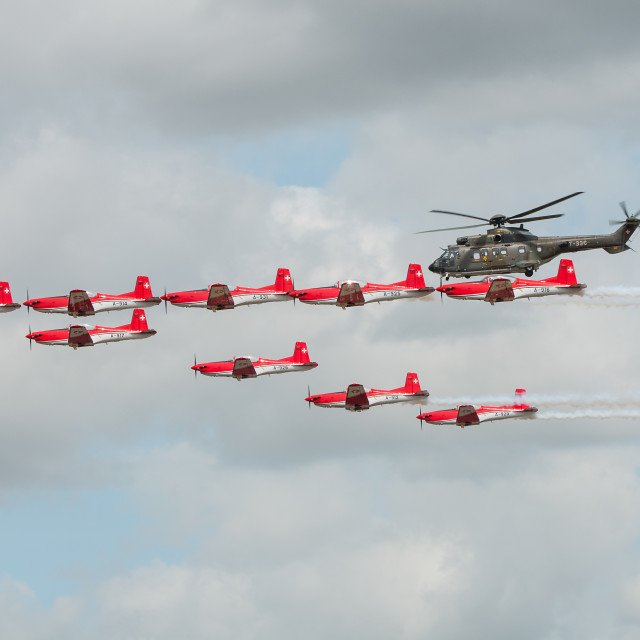 """""""Swiss formation flypast"""" stock image"""