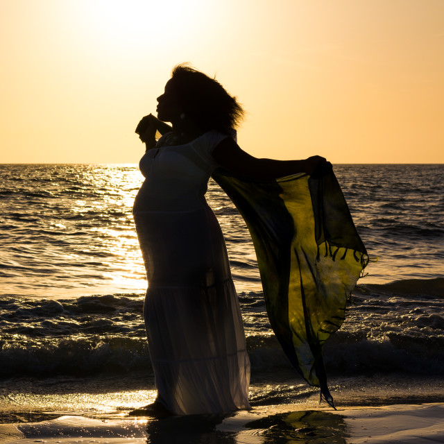 """""""Pregnant at the beach"""" stock image"""