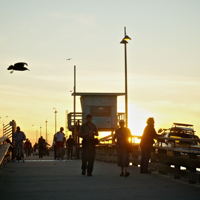 """Venice pier at sunset"" stock image"
