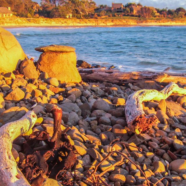"""""""Sunset on Rocks Tasmania"""" stock image"""
