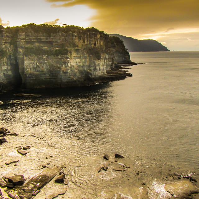 """Rocky Tasmanian Coastline"" stock image"