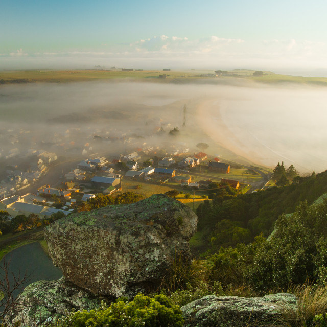 """Fog Clearing over Seaside Villiage 4"" stock image"